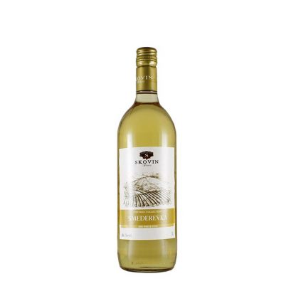 Skovin vino belo Smederevka 1l je suvo belo vino plod bele sorte grožđa Smederevka. Pitko i osvežavajuće, svetlo žute boje i odlično ide uz meso, salate i morkse plodove.