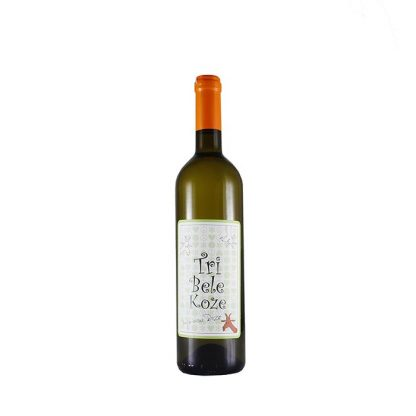 Tri Bele Koze vino belo 0.75l harmonično vino na nepcima. Dominira aroma svežeg limuna i sušene kajsije. Mirisa je bele breskve i cveća.